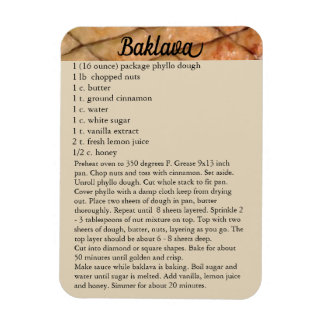 """Baklava"" Recipe Magnet Fridge Holiday Baking"