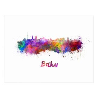 Baku skyline in watercolor postcard
