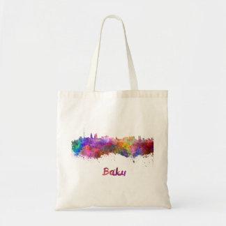 Baku skyline in watercolor tote bag