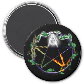 """Balance"" - Elemental Pentacle 7.5 Cm Round Magnet"