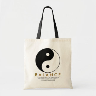 balance yoga yin yang with quote tote bag