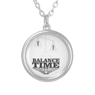 balance your time silver plated necklace