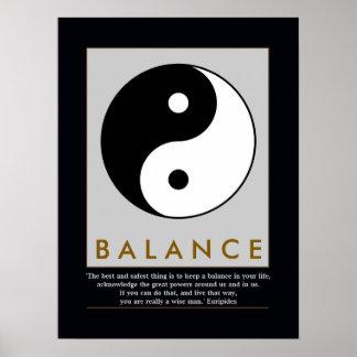 balance zen yin yang quote poster