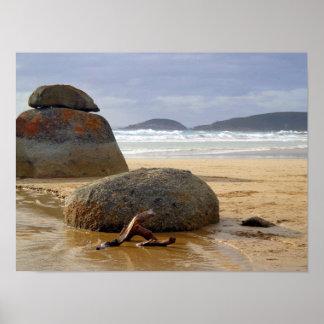 Balanced Rocks and Driftwood on Australian Beach Poster