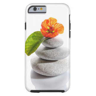 Balanced stones and red flower tough iPhone 6 case