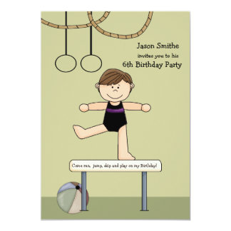 "Balancing Act Gymnastics Party Invitation 5"" X 7"" Invitation Card"