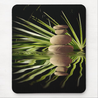 Balancing pebbles and palm tree leaves mouse pad