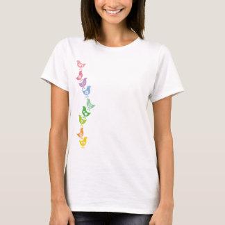 Balancing Retro Rainbow Chicks Fun Custom T-shirt