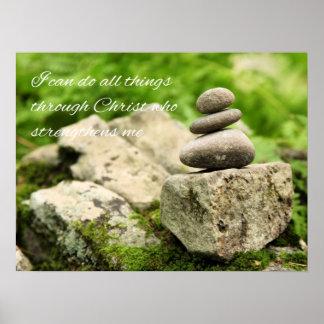 Balancing Rocks  Philippians 4:13 Poster