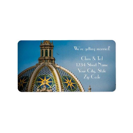 Balboa Park San Diego Mosaic Dome Wedding Address Label