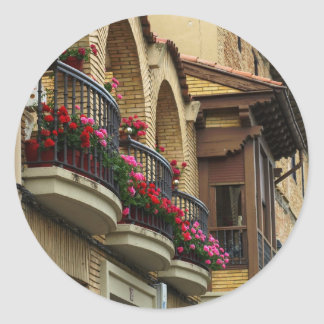 Balconies in Olite Classic Round Sticker