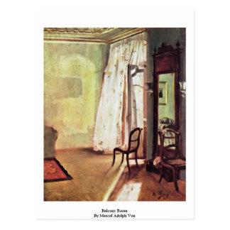 Balcony Room By Menzel Adolph Von Postcards