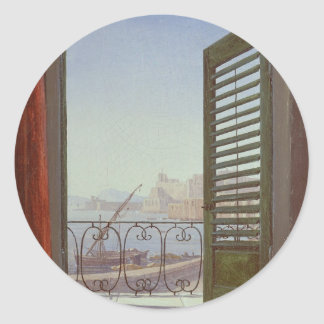 Balcony Room with a View of the Bay of Naples Round Sticker