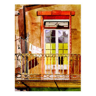 Balcony with laundry - watercolor drawing postcard