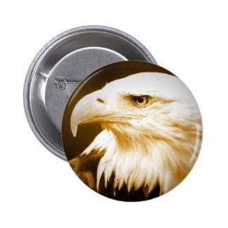 Bald American Eagle Eye Pinback Buttons