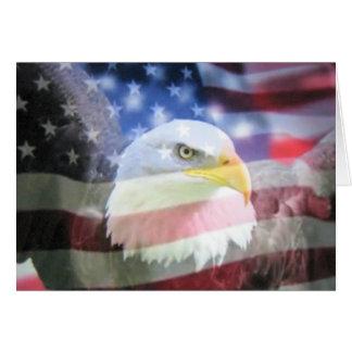 Bald american eagle & U.S.A. flag. Greeting Card