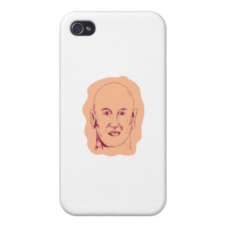 Bald Caucasian Male Head Drawing Case For iPhone 4