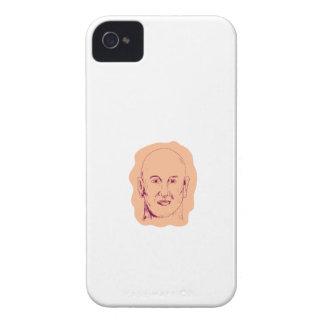 Bald Caucasian Male Head Drawing iPhone 4 Case