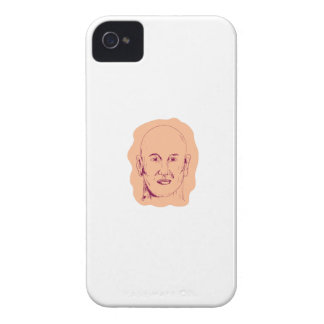 Bald Caucasian Male Head Drawing iPhone 4 Cover