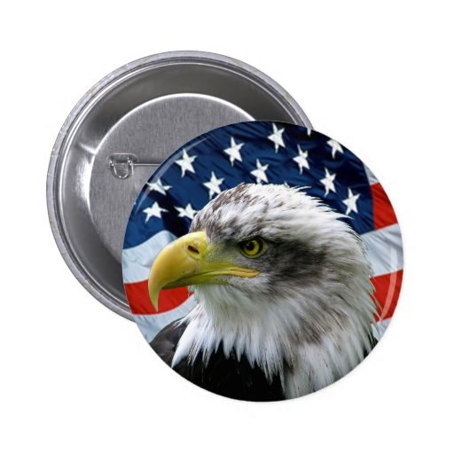 Bald-Eagle-American-Flag Button