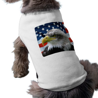 Bald-Eagle-American-Flag-Dog-Shirt Sleeveless Dog Shirt