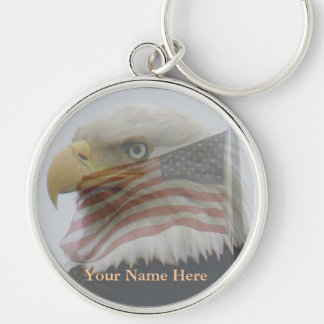 Bald Eagle & American Flag Key Ring