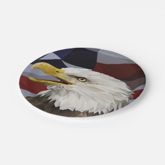 Bald Eagle American Flag Paper Plates 7 Inch Paper Plate