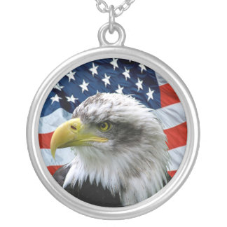 Bald Eagle American Flag Pendant Necklace