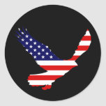 Bald Eagle American Flag Round Sticker