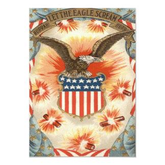Bald Eagle American Flag Shield Fireworks Card