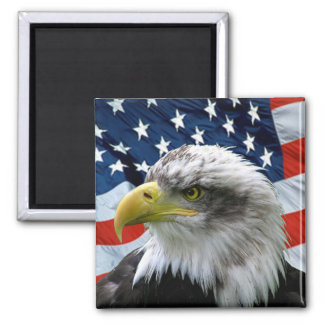 Bald-Eagle-American-Flag Square Magnet