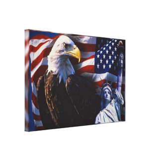 Bald Eagle an Statue of Liberty an American flag Canvas Print