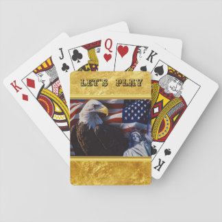 Bald Eagle an Statue of Liberty an American flag Playing Cards