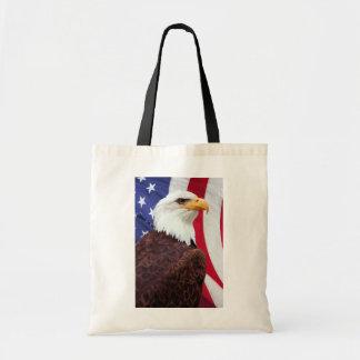 Bald Eagle and American Flag Canvas Bag