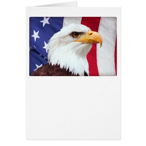 Bald Eagle and American Flag Greeting Cards