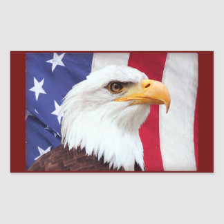 Bald Eagle and American Flag Rectangular Sticker