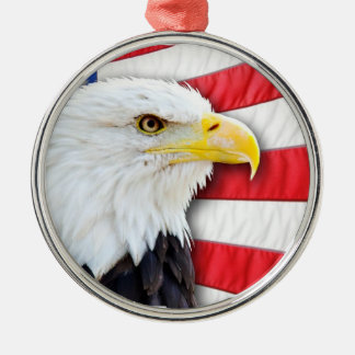 Bald Eagle and Flag Metal Ornament