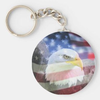bald eagle and U.S.A. flag Basic Round Button Key Ring