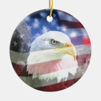 bald eagle and U.S.A. flag Round Ceramic Decoration