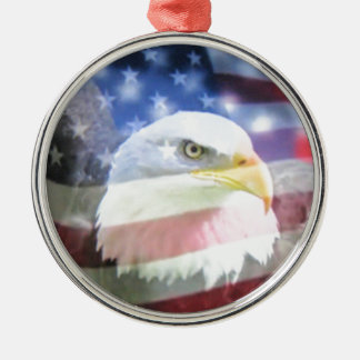 bald eagle and U.S.A. flag Silver-Colored Round Decoration