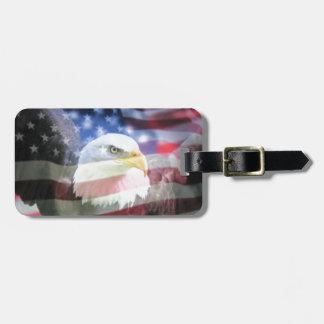 bald eagle and U.S.A. flag Travel Bag Tag