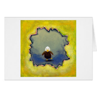 Bald eagle art wobbly baby learning empowerment card