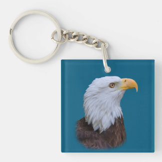 Bald Eagle Bird Customizable Single-Sided Square Acrylic Key Ring