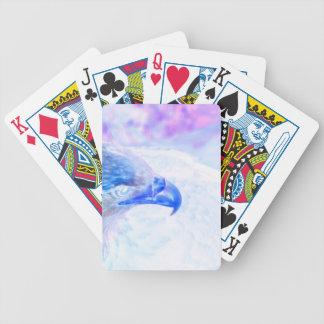 bald eagle blue purple facing right poker deck