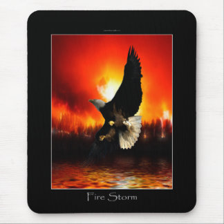 Bald Eagle & Burning Forest Fire Mousepad