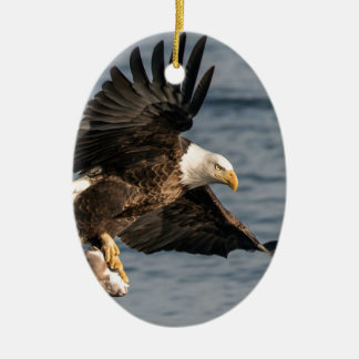Bald Eagle Catching Food Ceramic Ornament