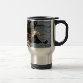 Bald Eagle Catching Food Travel Mug