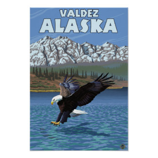 Bald Eagle Diving - Valdez, Alaska Poster