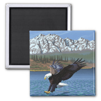 Bald Eagle Diving - Yellowstone National Park Square Magnet