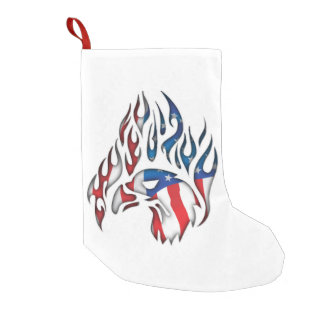 Bald Eagle flames and American flag Small Christmas Stocking